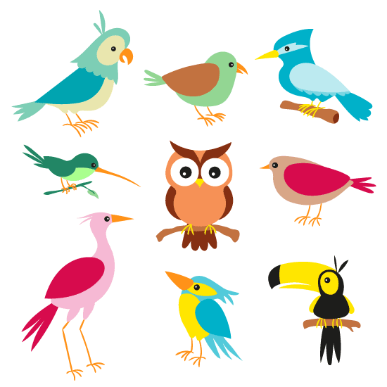 Aves cartoon simpáticas - vector