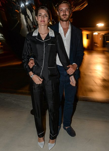 Charlotte Casiraghi wore PRADA Embellished silk twill style pajama set. Pierre Casiraghi at Oceanographic Museum