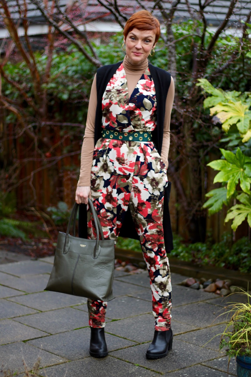 Floral Jumpsuit  | Knitted cashmere waistcoat