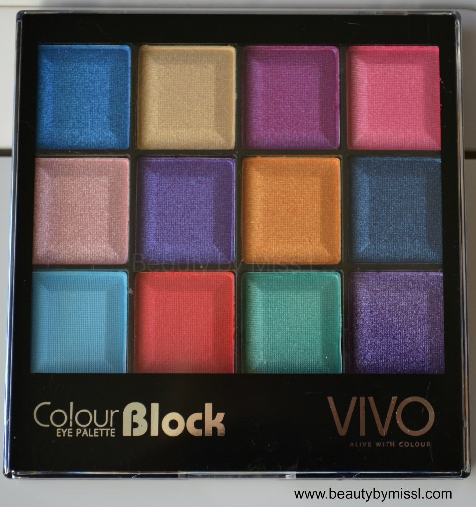 Vivo Cosmetics Show Me The Money 12 Shade Colour Block palette swatches