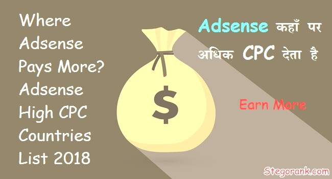 adsense highest paying countries list 2018 adsense high cpc wali country adsense kaha par kitni cpc deta hai jyada kaha pay karta hai adsense earning increase kaise kare aur jyada cpc kaise prapt kare