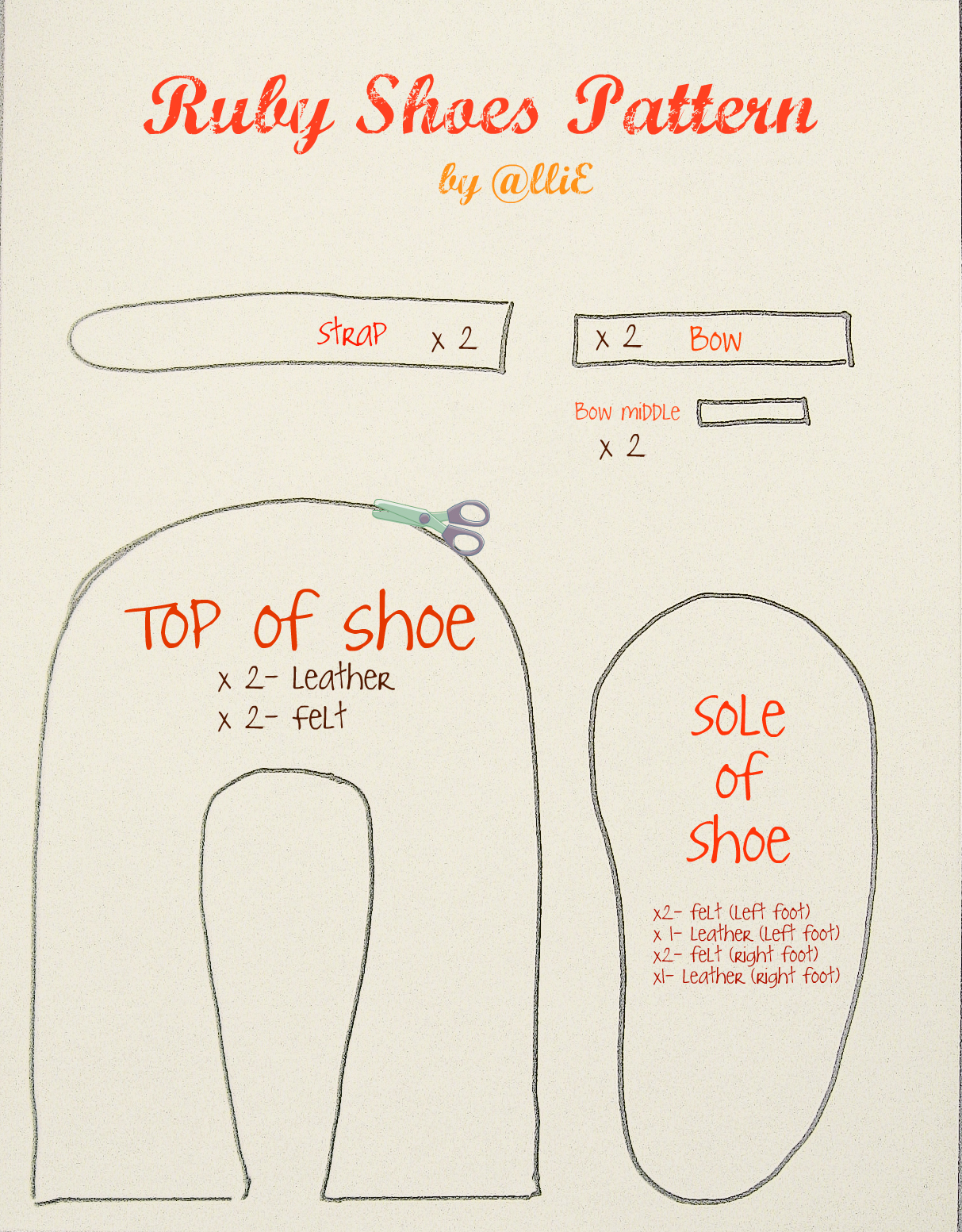 Felt Baby Shoes Free Template