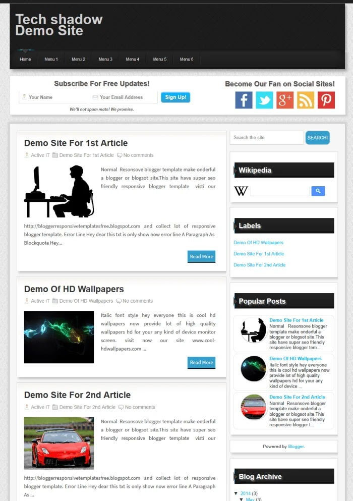 Tech Shadow Fast Loading Blogger Templates