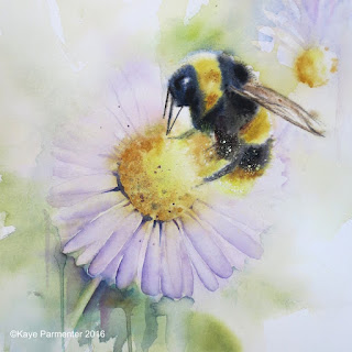 Original watercolour painting of bee on flower