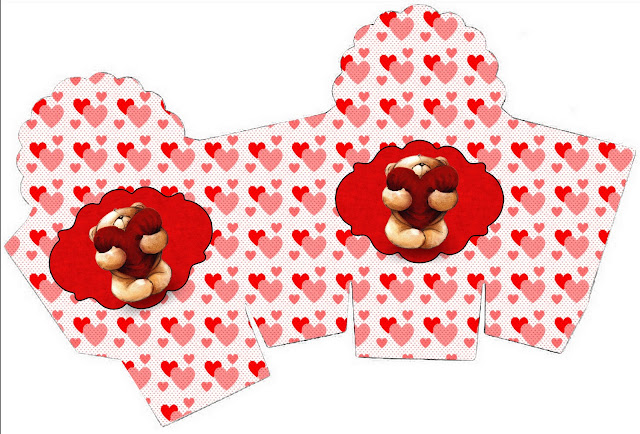 Teddy Bear in Love You can use this box for chocolates, candies or cupcakes.
