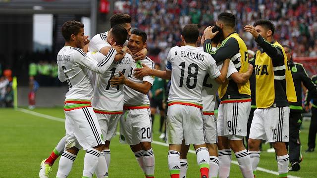 México celebra un gol contra Rusia en la Copa Confederaciones