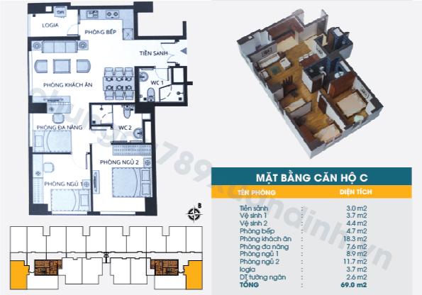 Diện tích căn hộ loại C : 69,00m2