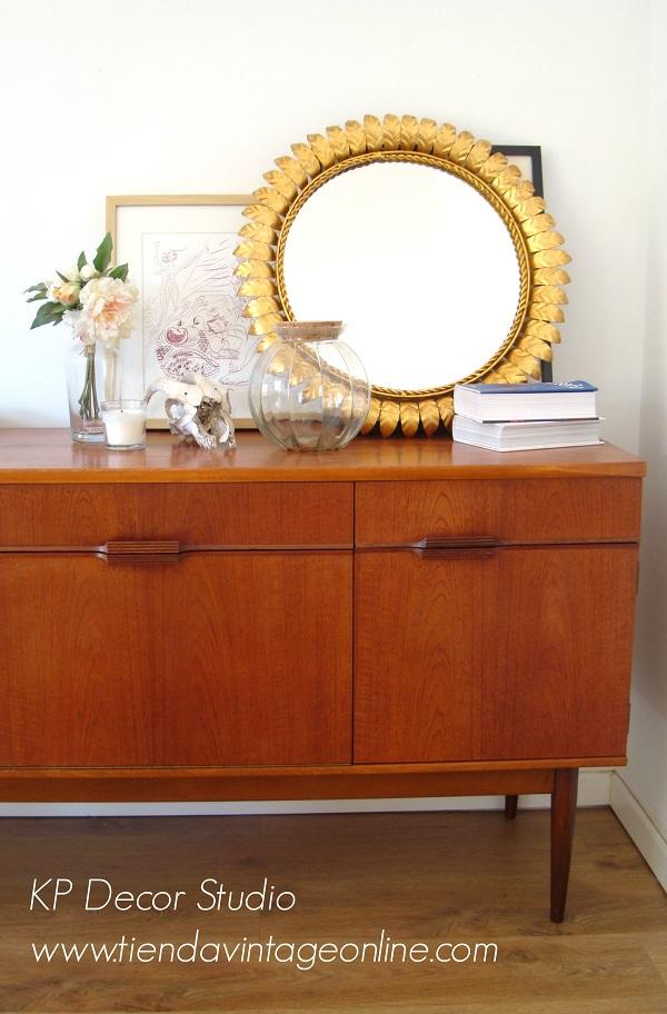 Comprar espejo dorado redondo antiguo valencia. Muebles vintage