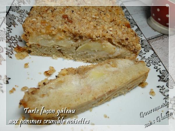 Tarte façon gâteau pommes noisette sans gluten