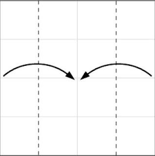 Bước 3: Gấp hai cạnh tờ giấy vào trong tại vị trí đứt đoạn.