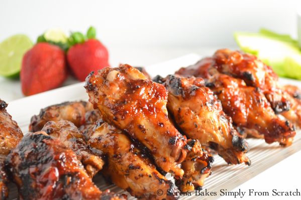 Roasted Strawberry Chipotle Barbecue Hot Wings are perfect for summer bbq's! serenabakessimplyfromscratch.com