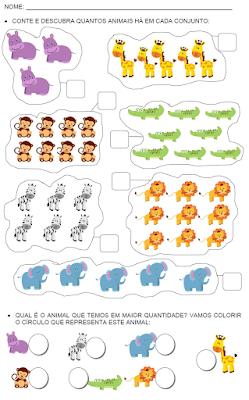 Contando animais com números até 9