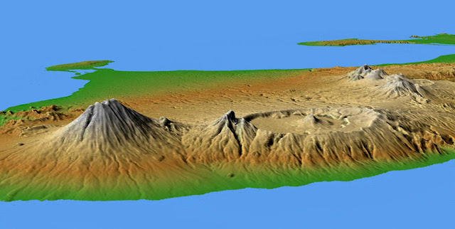 Ilustrasi informasi geospasial, visualisasi Gunung Agung dan Gunung Batur.. Foto : Wikipedia.. https://id.wikipedia.org/wiki/Berkas:Bali_Mts_Agung_and_Batur.jpg
