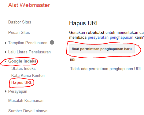 cara menghapus url dari google webmater tools