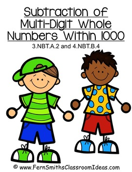 Subtraction Multi-Digit Numbers to 1000 - Quick and Easy Center and Printables