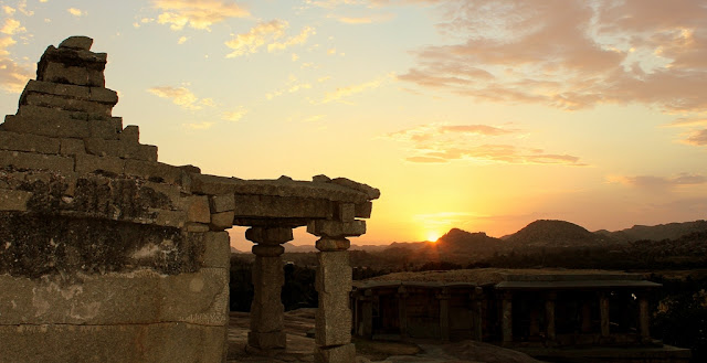 Sunset at Hemakunta hills - Ancient Indian temple architecture -Hampi Pick, Pack, Go