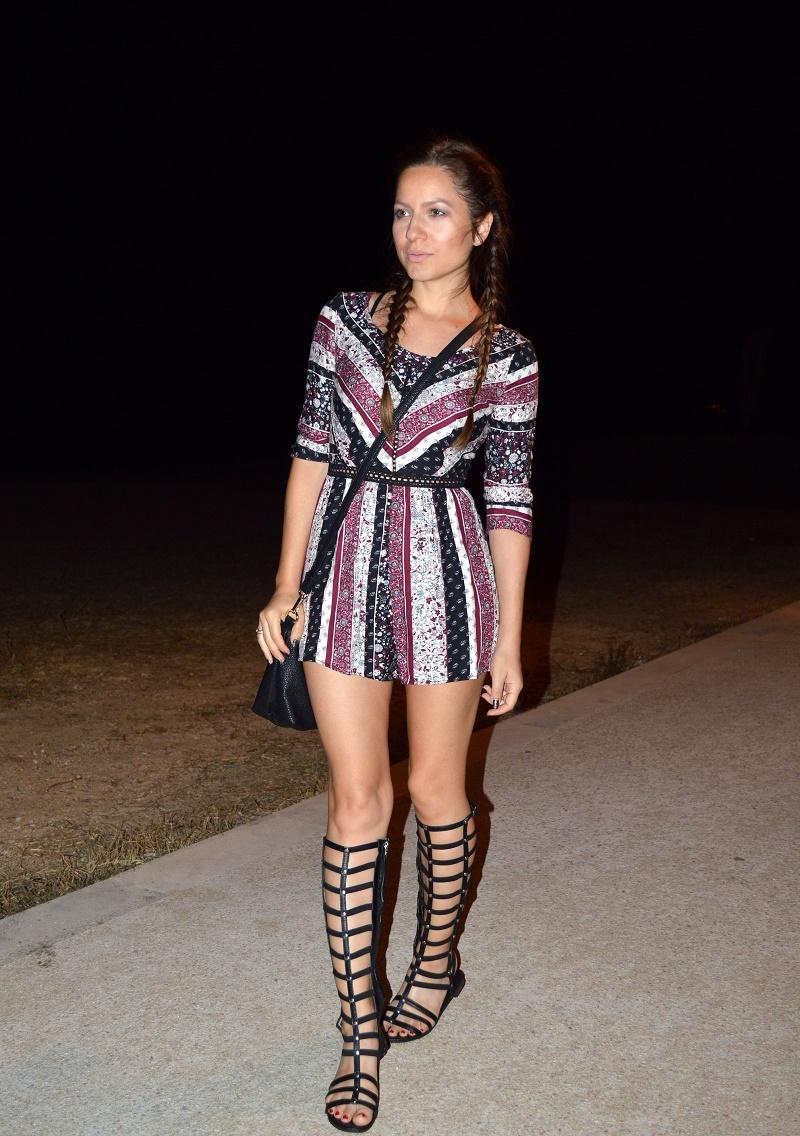 greek nights outfit bershka romper gladiators