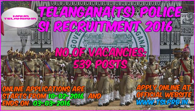 Telangana(TS): Police SI Recruitment 2016