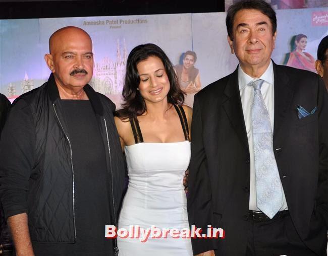 Rakesh Roshan, Amisha Patel and Randhir Kapoor, Hot Amisha Patel in White Dress at Desi Magic Poster Launch