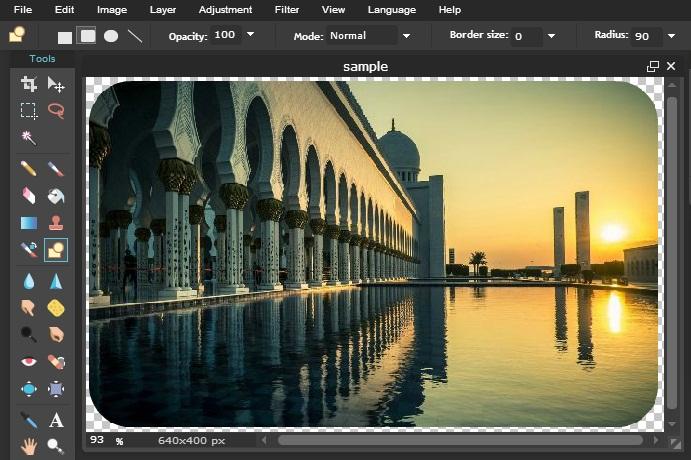Edit foto bentuk Rounded Corners