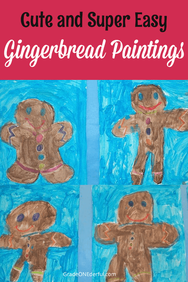Painting gingerbread cookies in first grade. We used crayon and tempera paints. #gingerbread #gingerbreadart #gingerbreadpaintings #gradeonederful