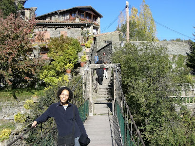 Suspension bridge in the medieval village of Rupit