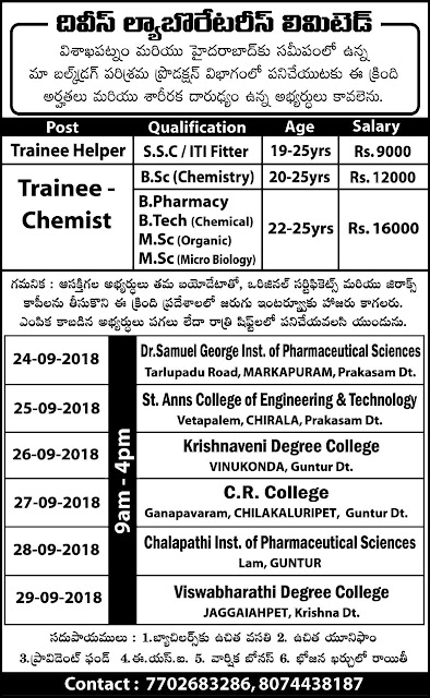 Divis Labs Walk In Drive For Freshers B.Sc, ITI, SSC, B.Pharm, B.Tech, M.Sc at 24 to 29 Sep