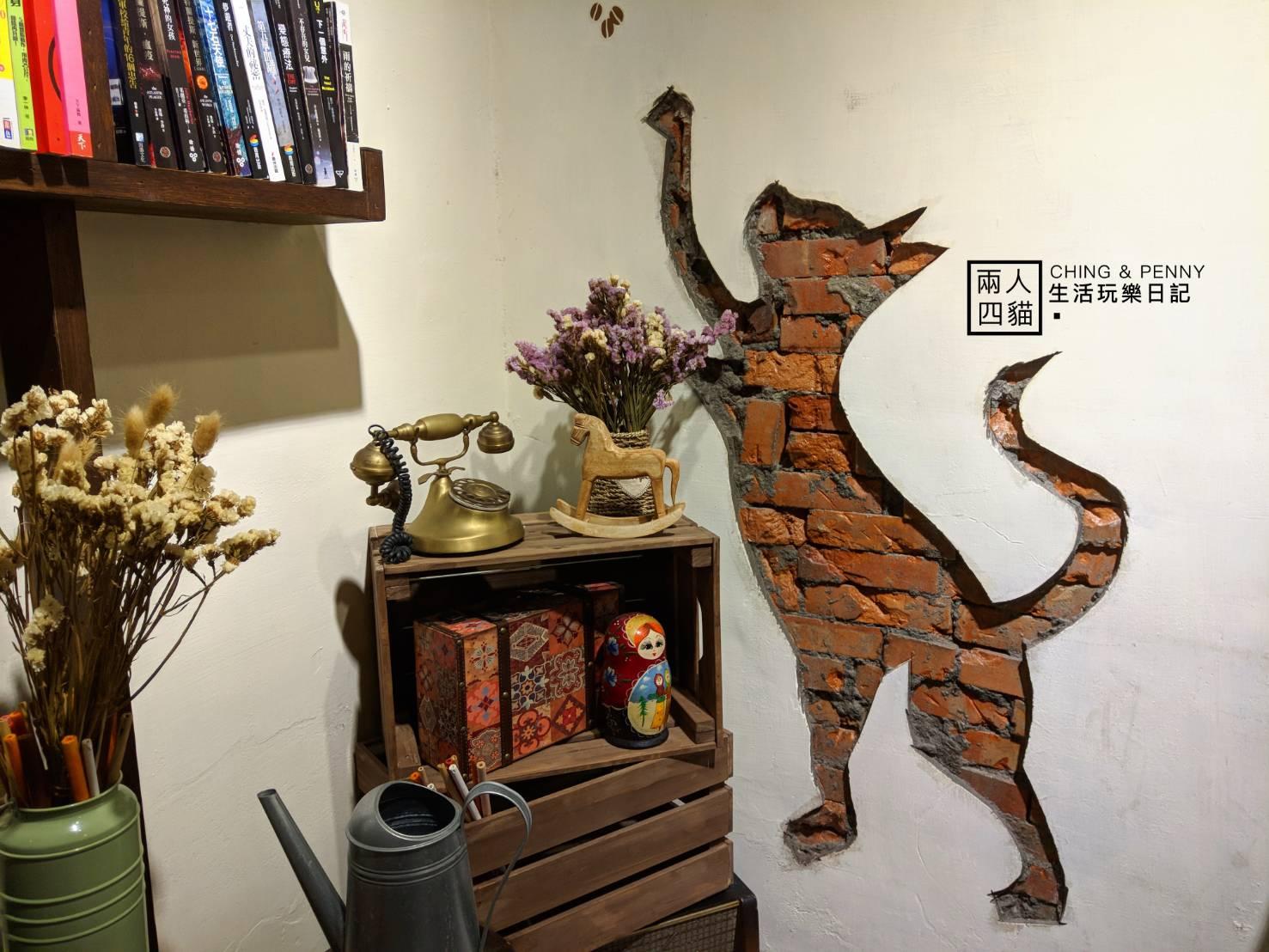 【板橋|美食】牆壁藏有一隻貓? 寵物友善餐廳【翁林.林Cafe】 處處可見老闆用心 板橋不限時、免費WIFI咖啡廳