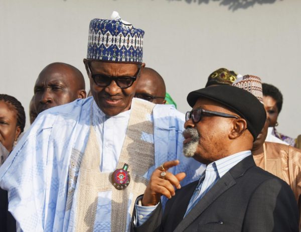 Buhari and Minister of Labour, Chris Ngige at the presentation of the report of Tripartite Committee on minimum wage