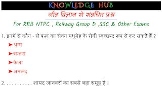 जीव विज्ञान से संबंधित प्रश्न_For RRB NTPC , Railway Group D ,SSC & Other Exams