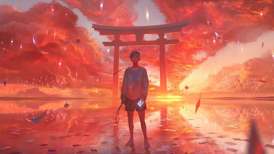Anime, Boy, Sunset, Gate, Shrine, 4K, #6.998 Wallpaper