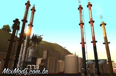 fumaça nas tubulações de fábricas gta