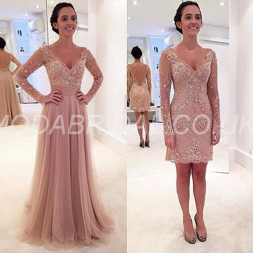 Fashionable Long Sleeves Beading Evening All Sizes Fall A-line Floor-Length Formal Dress