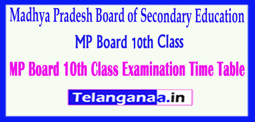 MP Board 10th Class Madhya Pradesh Board of Secondary Education SSC Examination Time Table