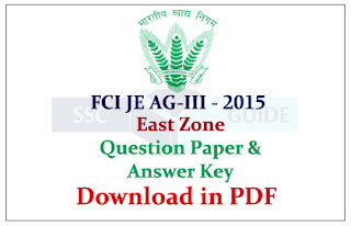 FCI Junior Engineer Assistant Grade III East Zone Question Paper with Answer (Held on 06.09.2015)