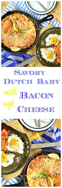 This savory Dutch Baby with bacon and cheese is an awesome way to start the day. So easy to make and such a great change from a sweet Dutch baby...it's time to give this bacon and cheese puffy pancake its due! #breakfast #Dutchbaby #pancakes www.thisishowicook.com