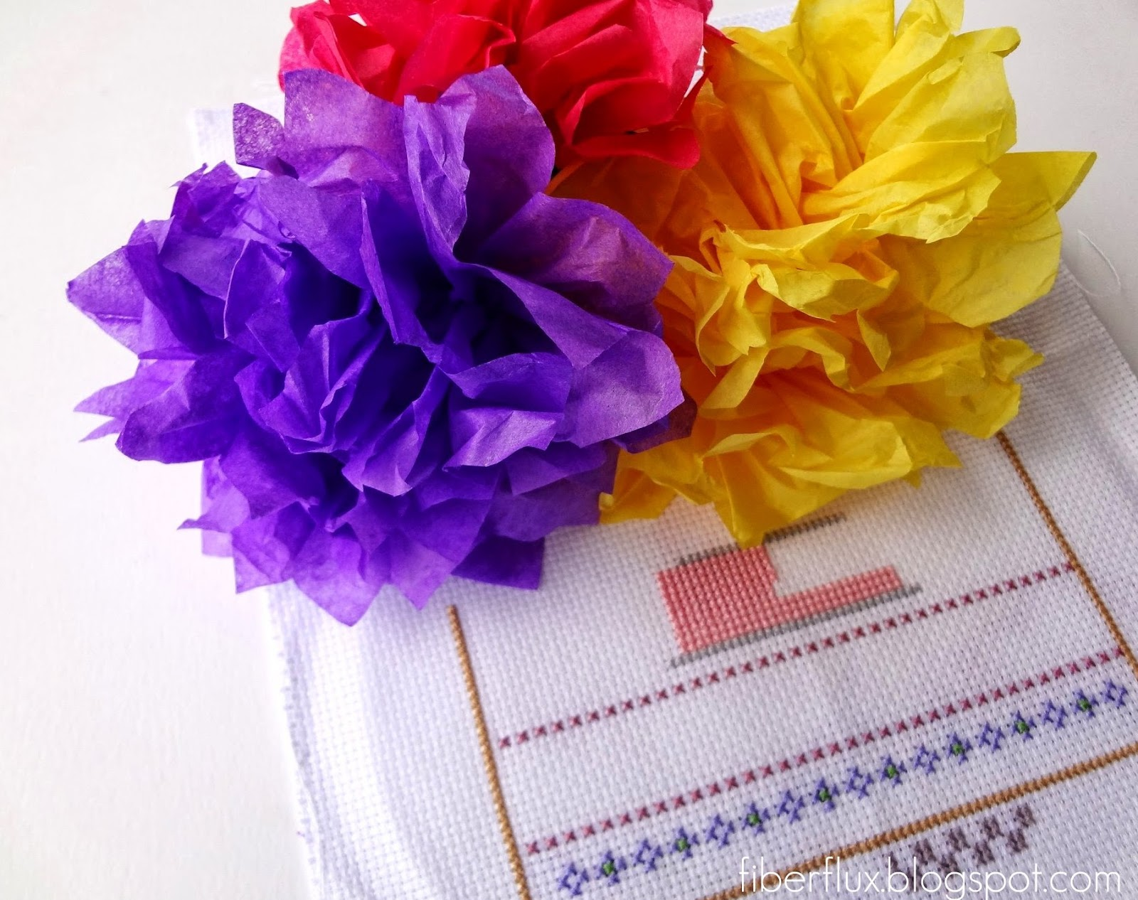 Fiber Flux Tissue Paper Flowers A New Cross Stitch Project