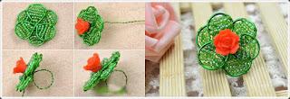 Kum Boncuk ve Gül ile Yüzük Yapımı, Resimli Açıklamalı 2
