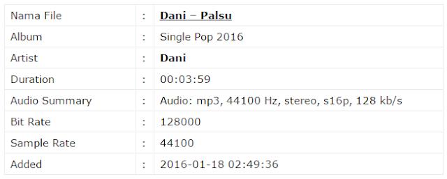 Download Mp3 Lagu Dani - Palsu Lagu Yang Lagi Ngehits