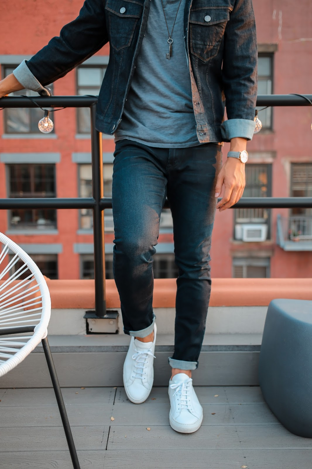 Men's Summer Style, Denim Jacket, Double Denim, Day to Night, The Express Life, Prada Sunglasses