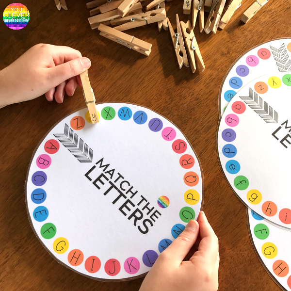 Uppercase and Lowercase Letter and Initial Sound Printable Circles   you clever monkey