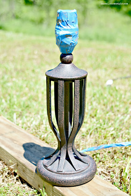 How to spray paint a lamp base DIY project - One Mile Home Style