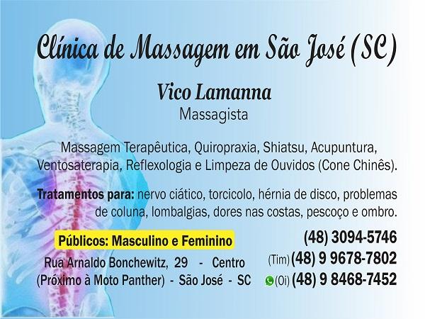 Vico Massagista em São Jose SC (48) 3094-5746  Massagem Massoterapia Quiropraxia Acupuntura