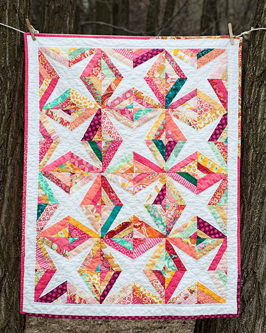 Helena's Diamond Charms Quilt made by Andria Olseon of Prettiest Teacup, The Tutorial designed By Molly Flanders