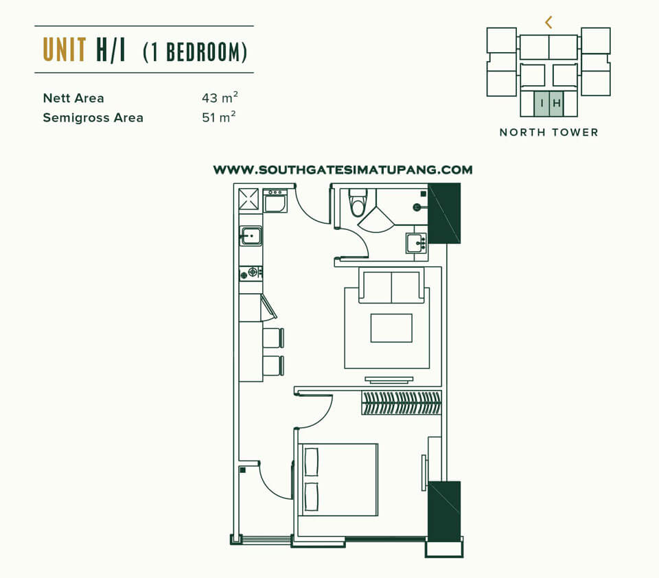 Floor Plan Unit 1 BR Southgate Jakarta Apartment