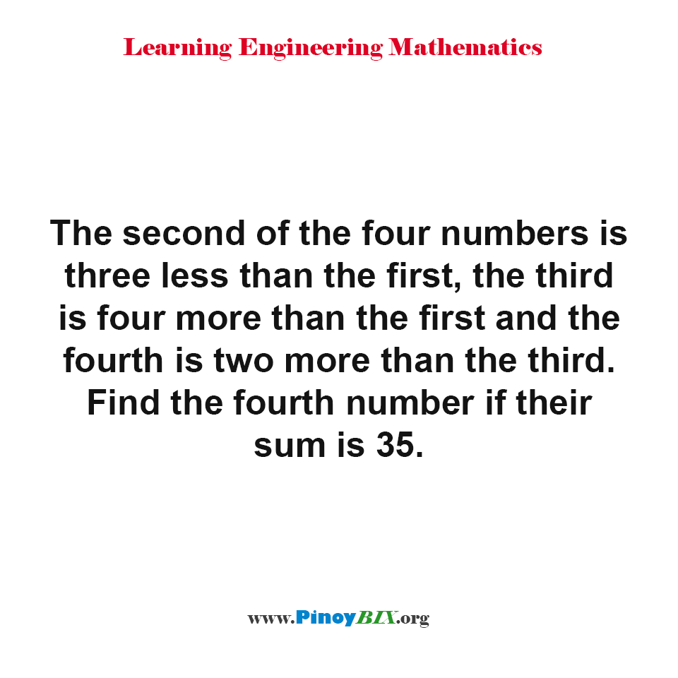 Find the fourth number if their sum is 35