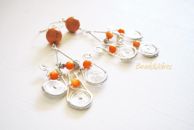 long orange earrings