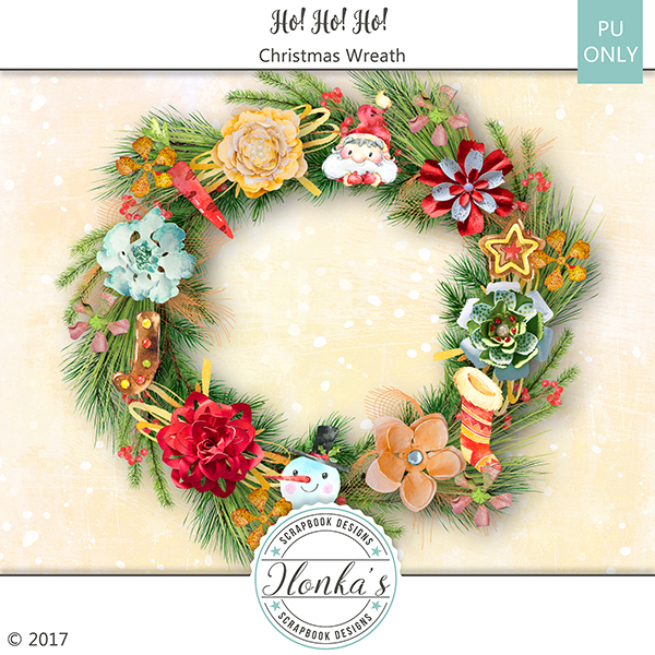 Ho! Ho! Ho! Christmas Wreath Freebie