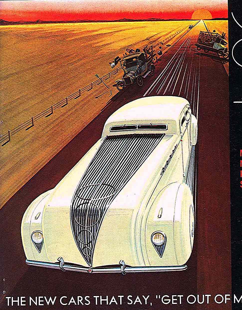 a Bruce McCall illustration for National Lampoon Magazine 1970s, The new cars that say Get Out Of My Way!