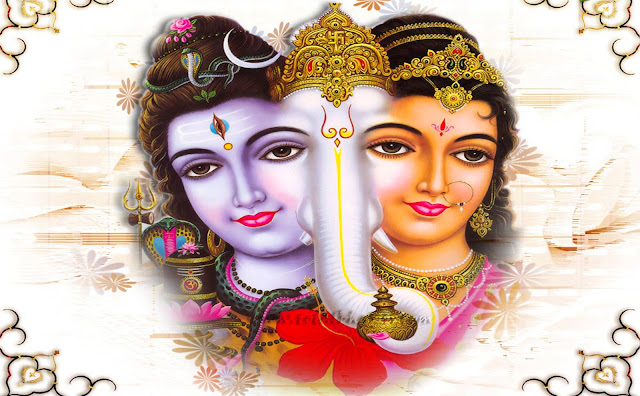 Lord Shiva & Parvathi With Ganesh Jee Wallpaper